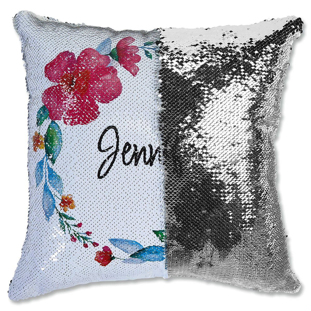 Sequined Name in Wreath Personalized Pillow
