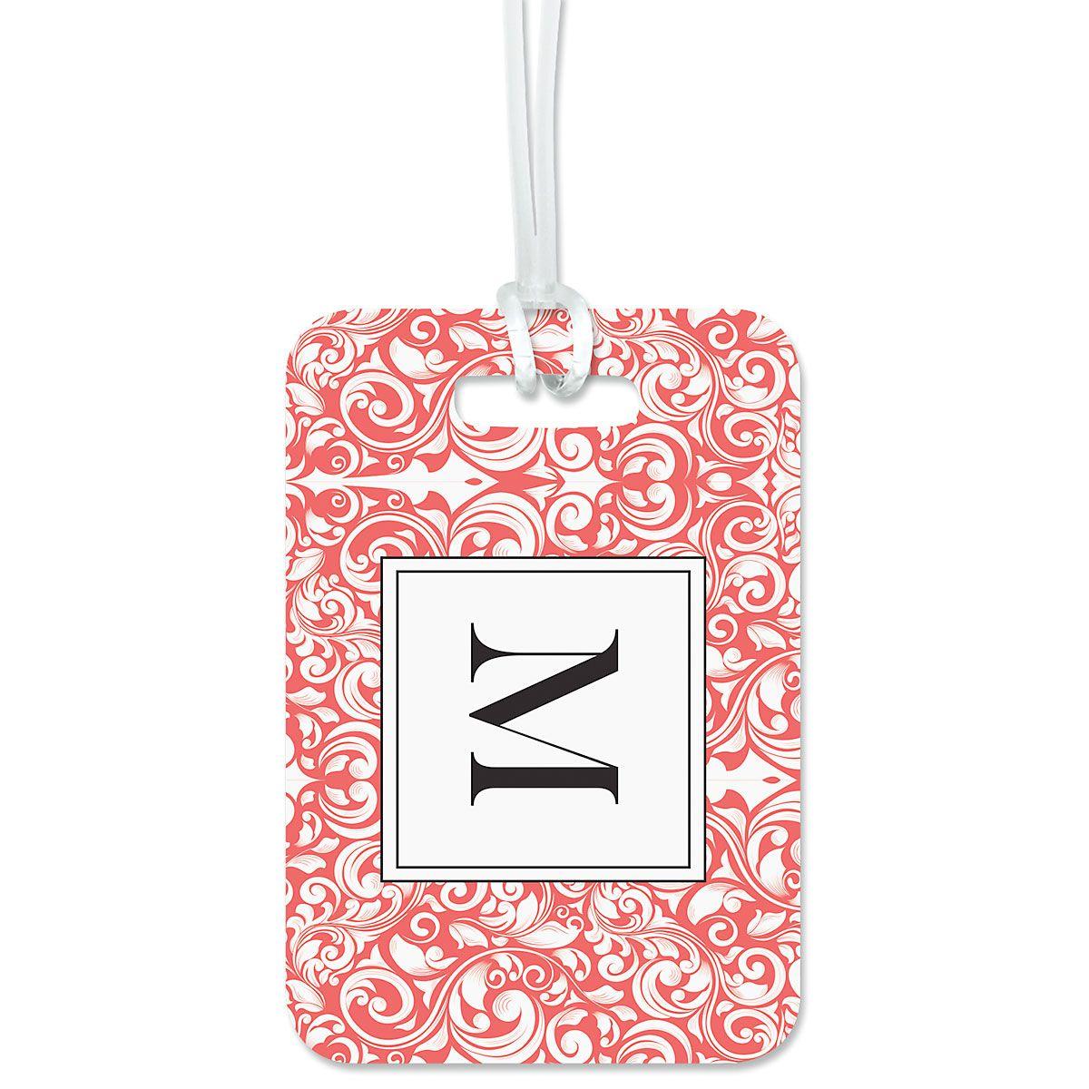 Custom Rose Damask Luggage Tag