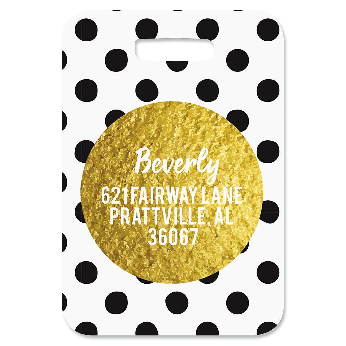 Custom Polka Gold Luggage Tag