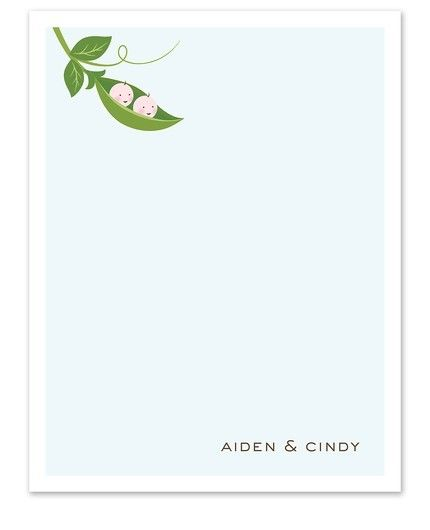 Twin Peapod Flat Card