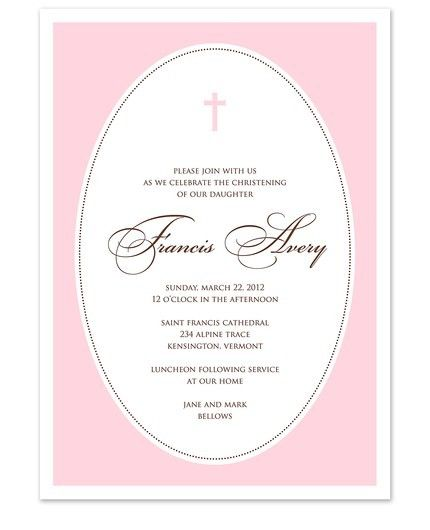 Pink Cross Oval Frame Invitation