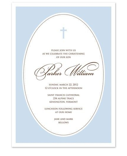 Blue Cross Oval Frame Invitation