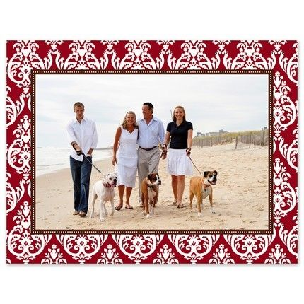 Red Damask Mounted Photo Card