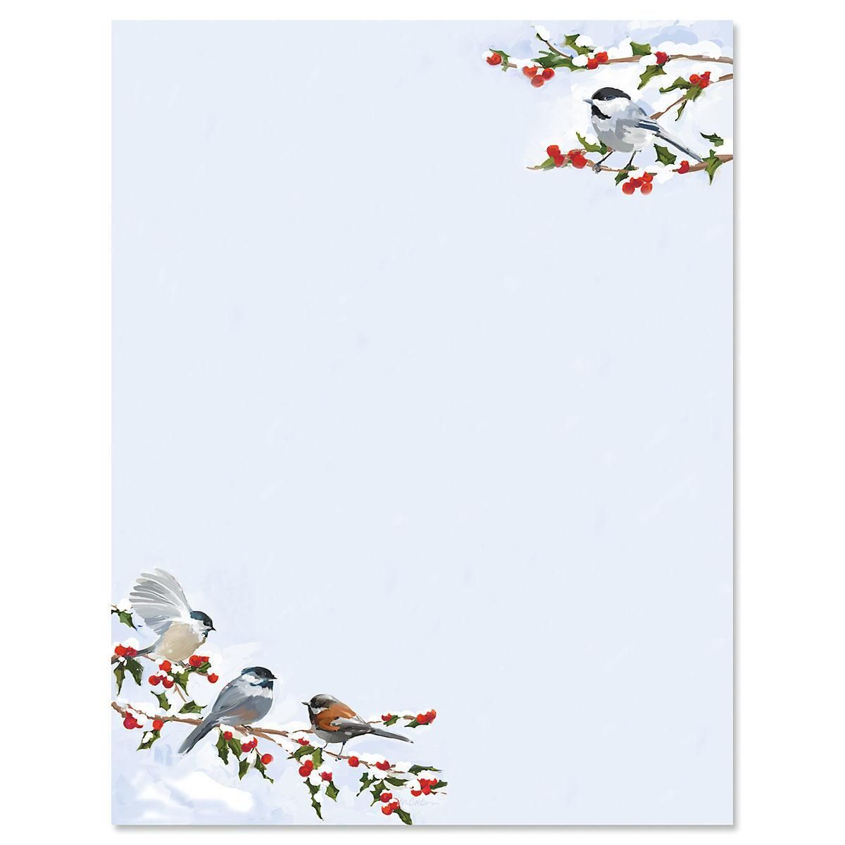 Chickadee Berry Letter Papers