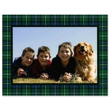 Navy Plaid Photo Card