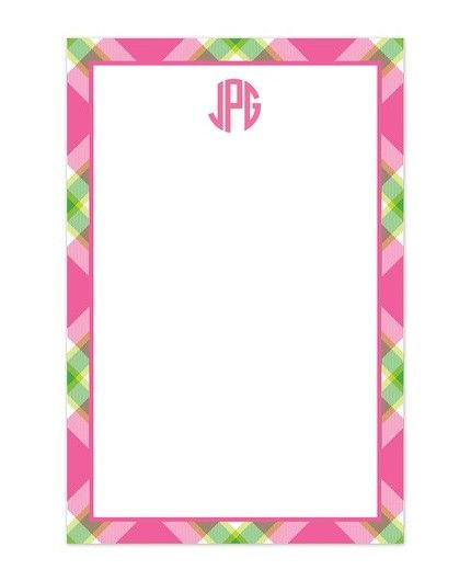 Pink Plaid Note Pad