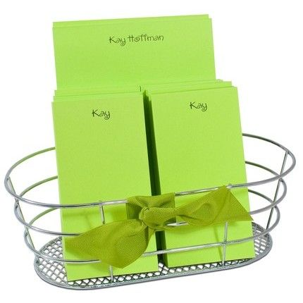 Lime Note Pads & Wire Basket