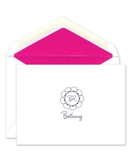 Monogrammed White Note Card