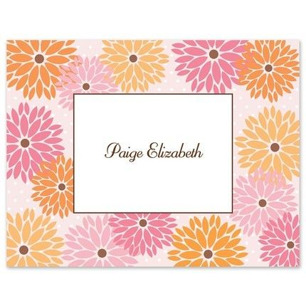 Pink Zinnias Note Card