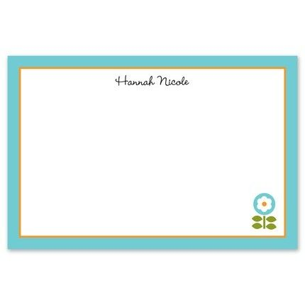 Teal Addie Flowers Flat Card