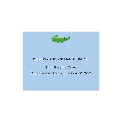 Blue Alligator Calling Card FEATURES & DESCRIPTION Medium Paper Weight Flat Size: 2.5  x 3.25  (H x W) Font(s) Shown: Lato Regular Font Color(s) Shown: Midnight This small calling card is the ideal way to share your contact information. This small blue card features a preppy green alligator at the top of the card. Add your personalized text to complete the look.Envelopes are not included.