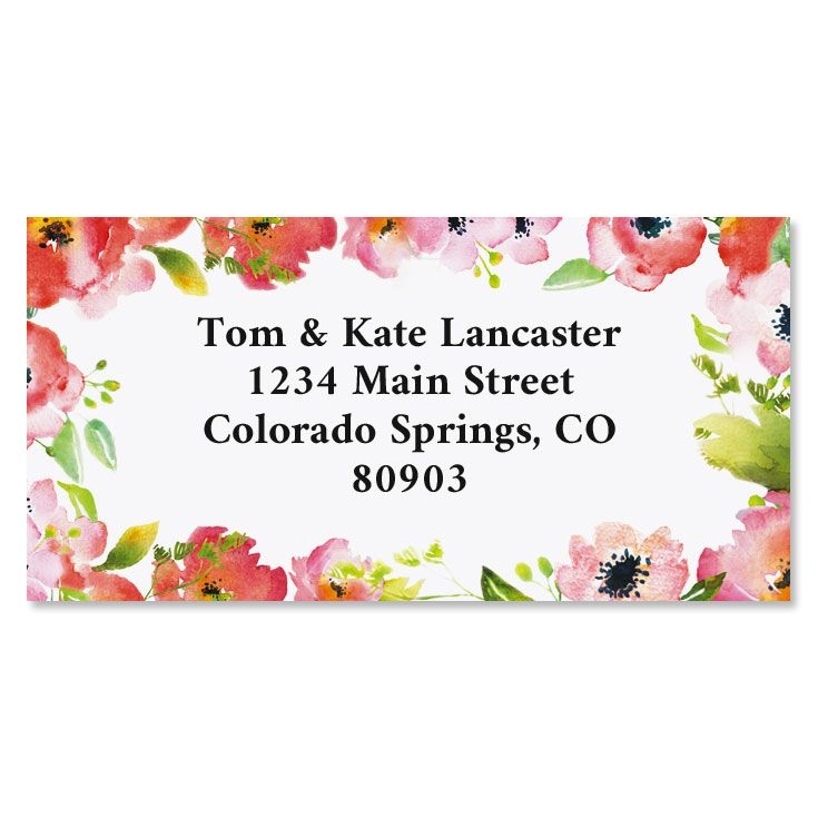 Blushing Garden Border Custom Address Labels