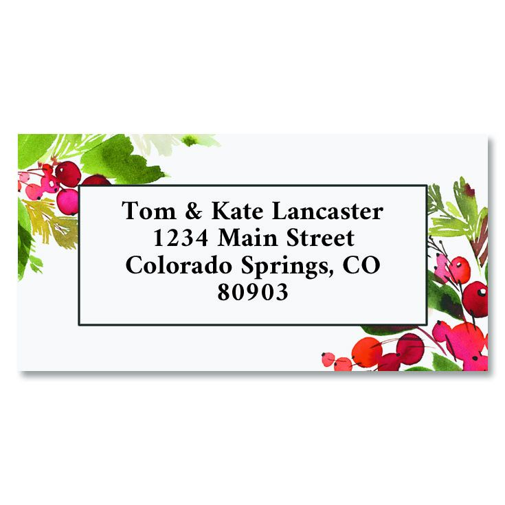 Holiday Spruce Border Custom Address Labels