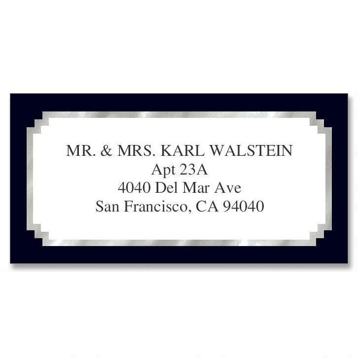Black & Silver Foil Border Custom Address Labels
