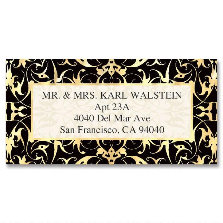 Black Filigree Foil Border Custom Address Labels