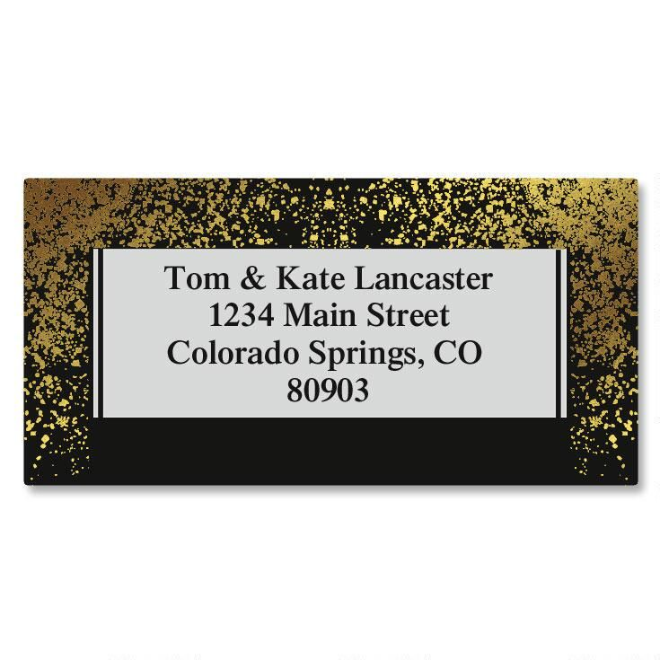 Gold Dust Foil Border Custom Address Labels