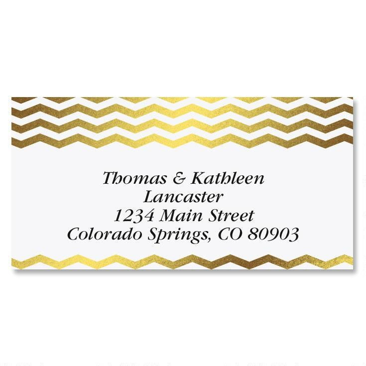 Gilded Chevron Gold Foil Border Custom Address Labels