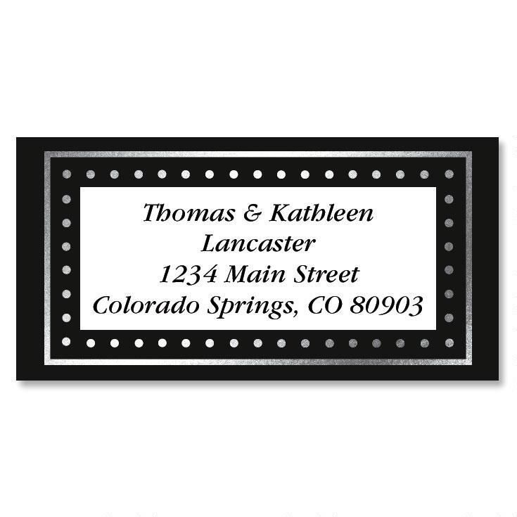 Silver Dots Foil Border Custom Address Labels
