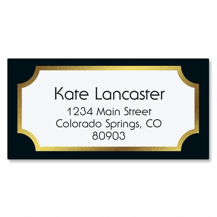 Fundamental Black Foil Border Custom Address Labels