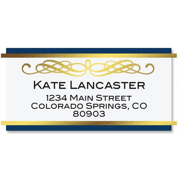 Sapphire Foil Border Custom Address Labels