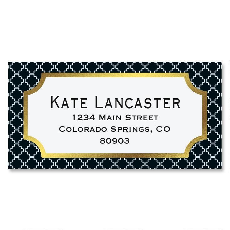 Diagonal Pattern Foil Border Custom Address Labels