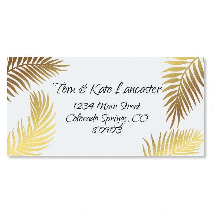Golden Palms Foil Border Custom Address Labels