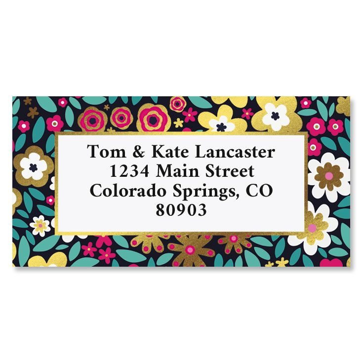 Flower Flare Foil Border Custom Address Labels