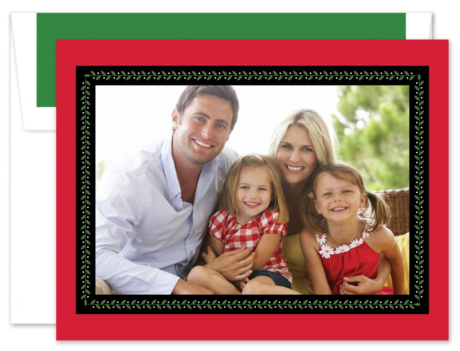 Vine Ribbon Red & Black Photo Card