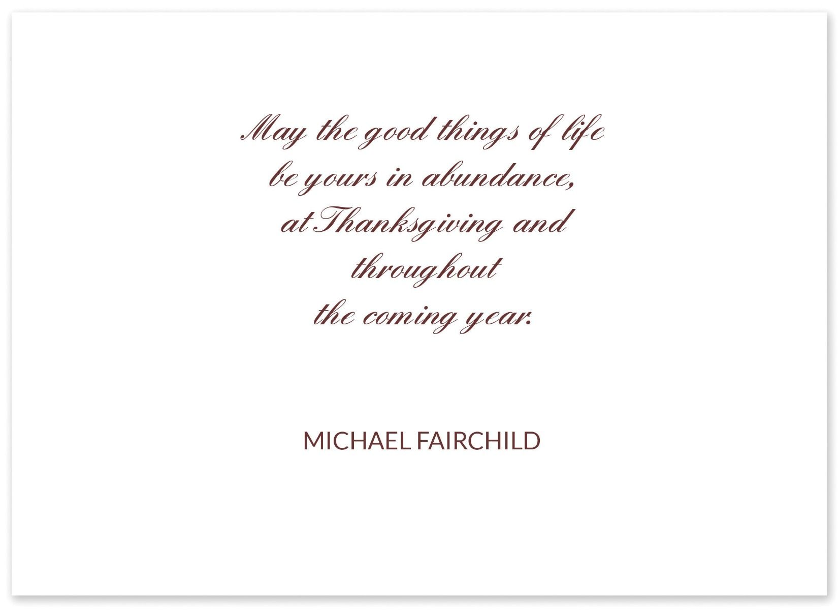 Greetings of Thanksgiving Greeting Card