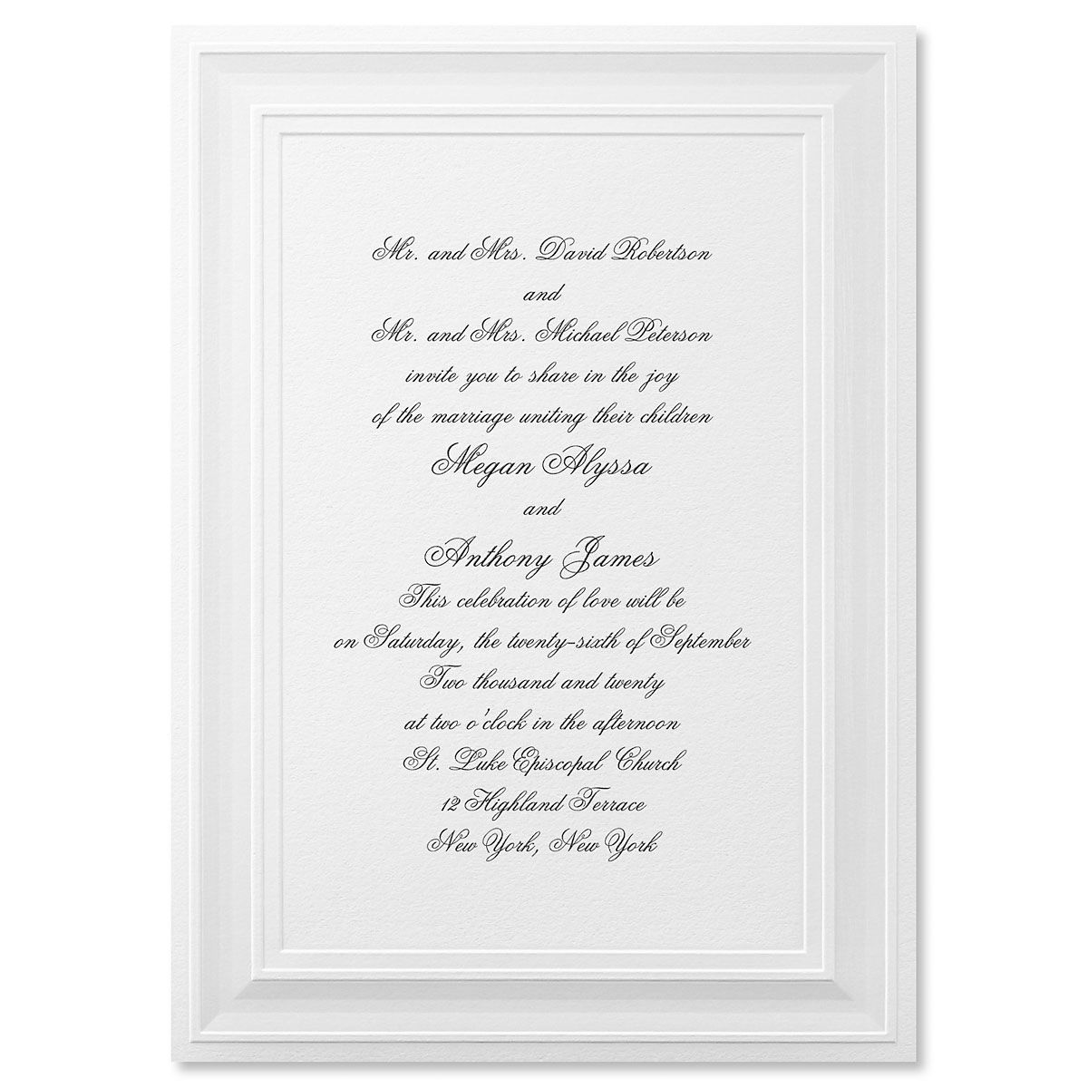 A Royal Frame White Invitation