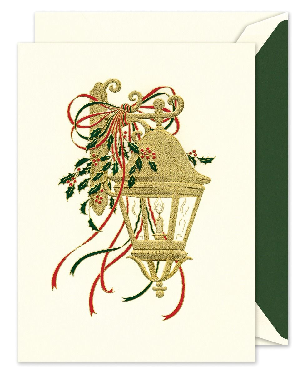 Holly Lantern Greeting Card
