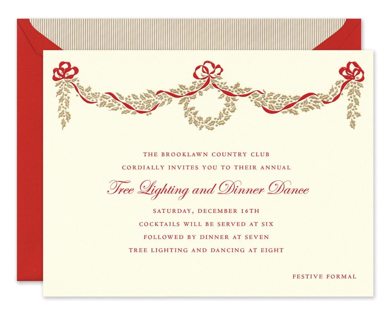 Golden Holly Bough Invitation