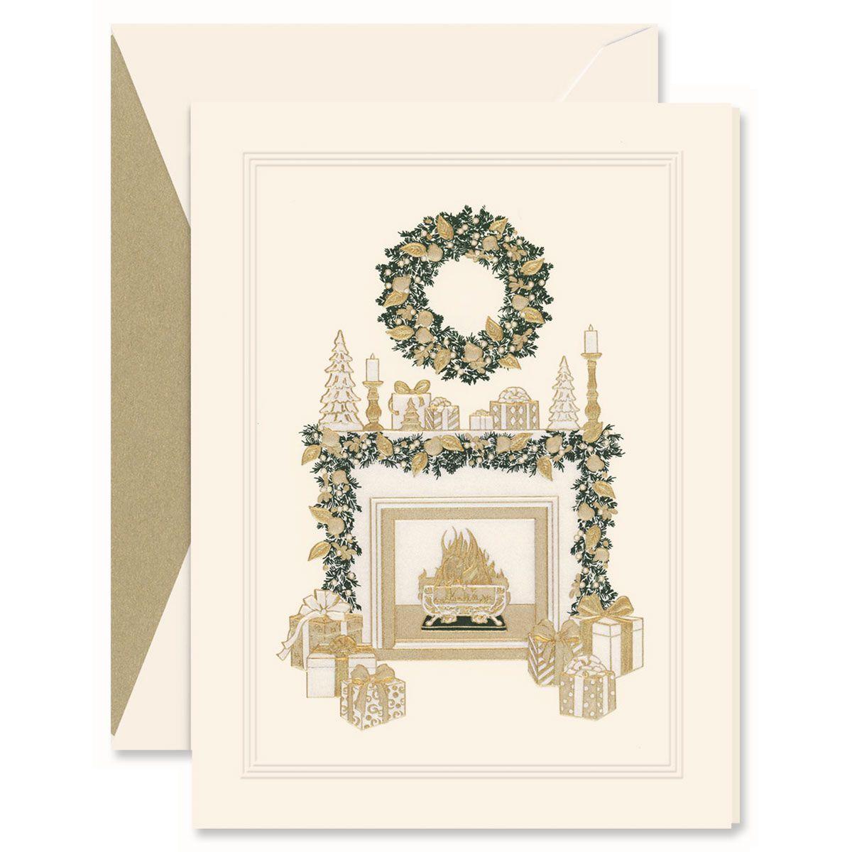 Cozy Christmas Fireplace Greeting Card