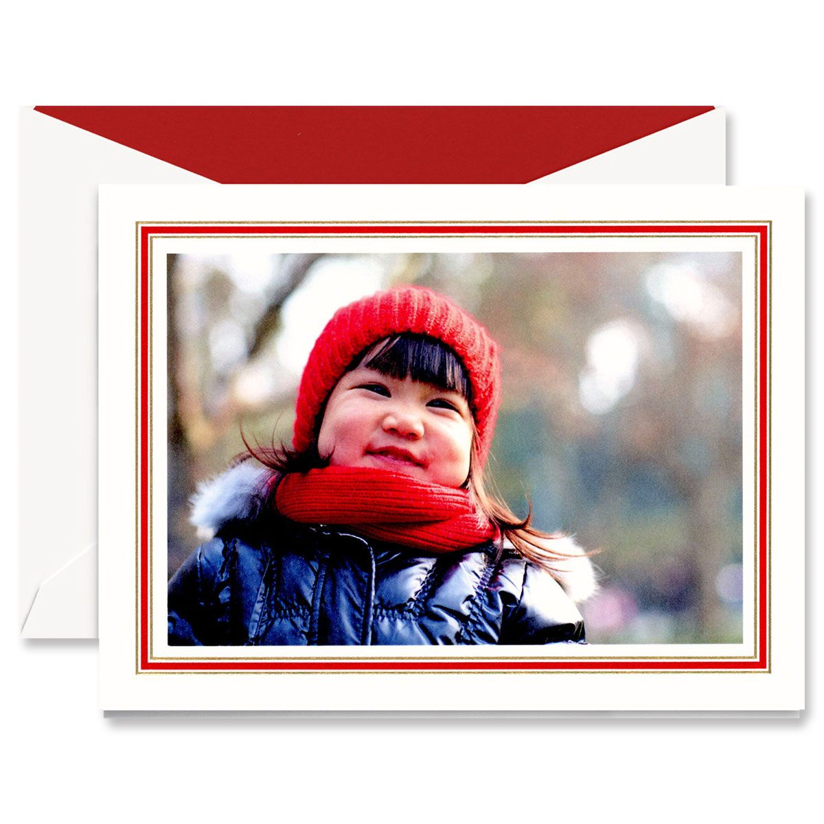 Classic Red and Gold Frame Mounted Photo Card