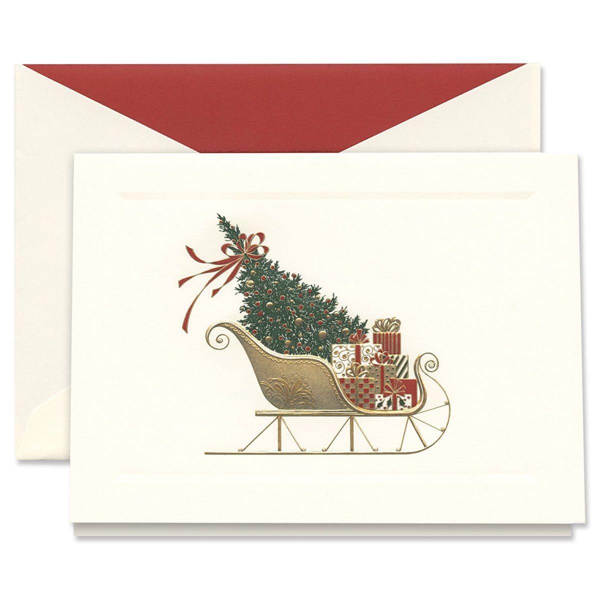 Engraved Santa's Sleigh Holiday Greeting Cards Boxed Set
