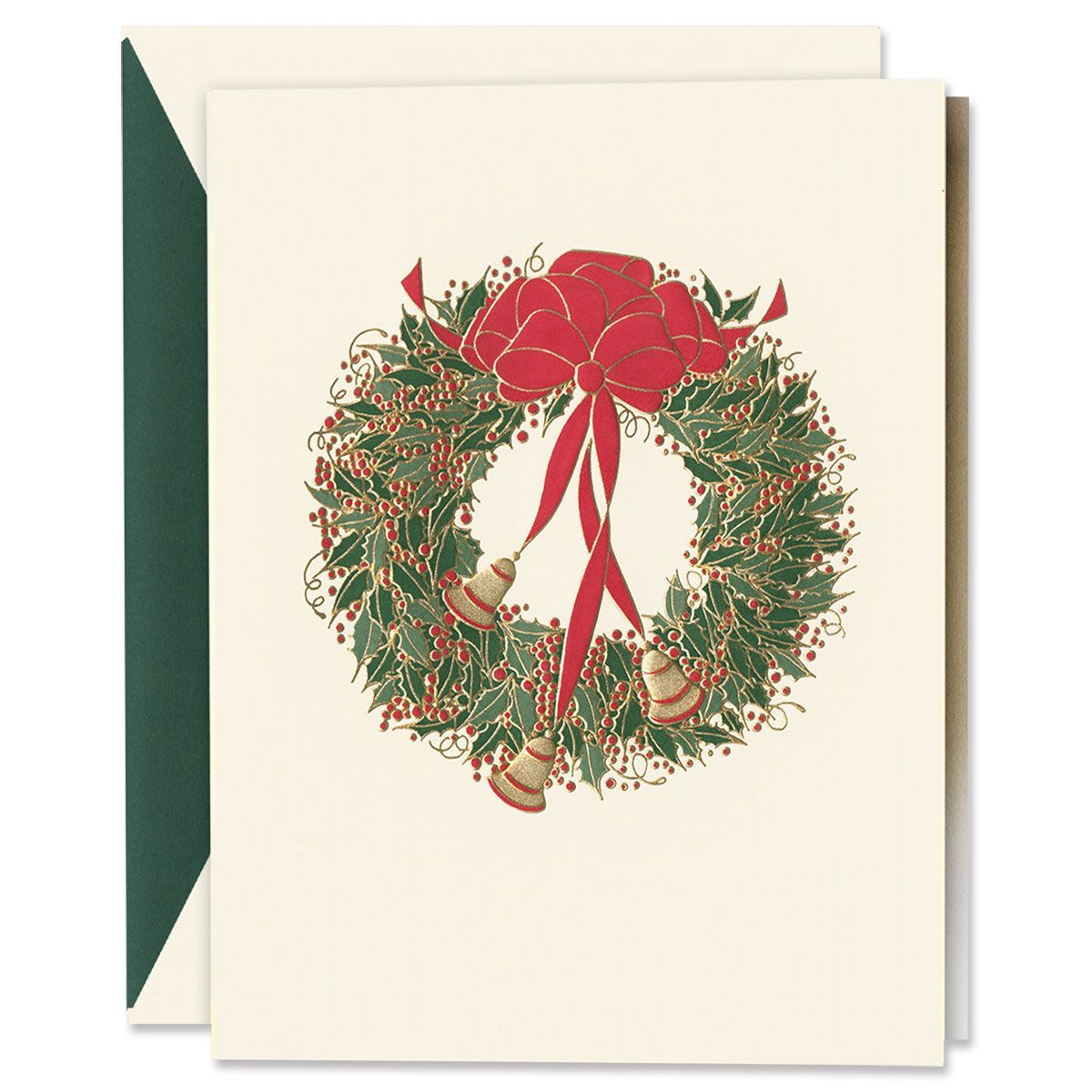 Engraved Holly Wreath with Bells Holiday Greeting Cards Boxed Set