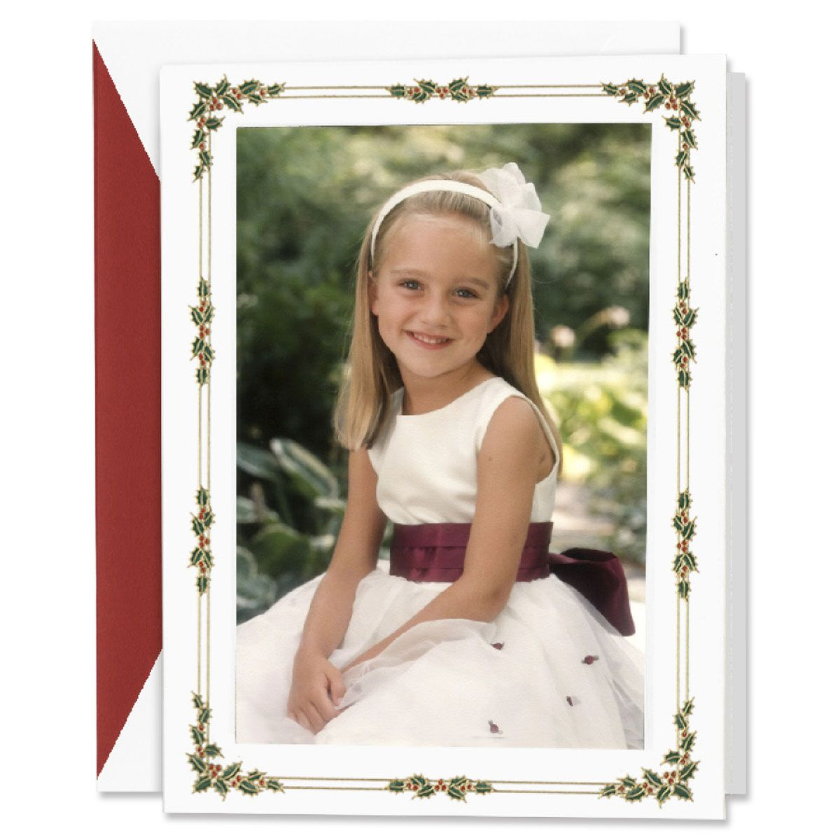 Engraved Holly Berry Photo Mount Holiday Greeting Cards Boxed Set