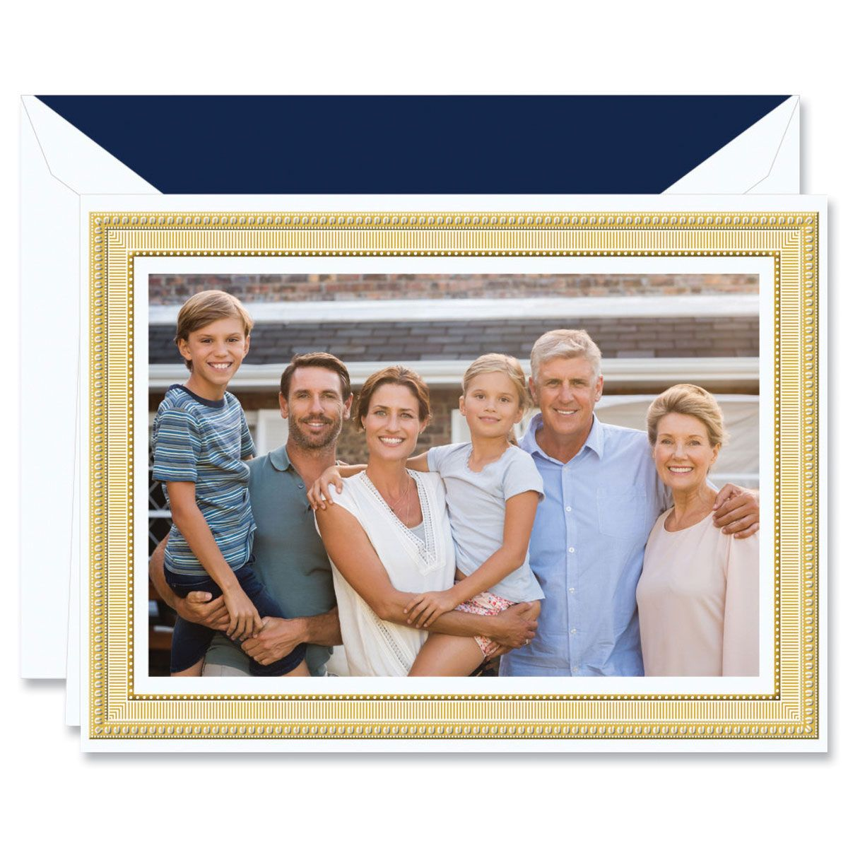 Gold Portrait Frame Photo Mount Holiday Greeting Cards Boxed Set