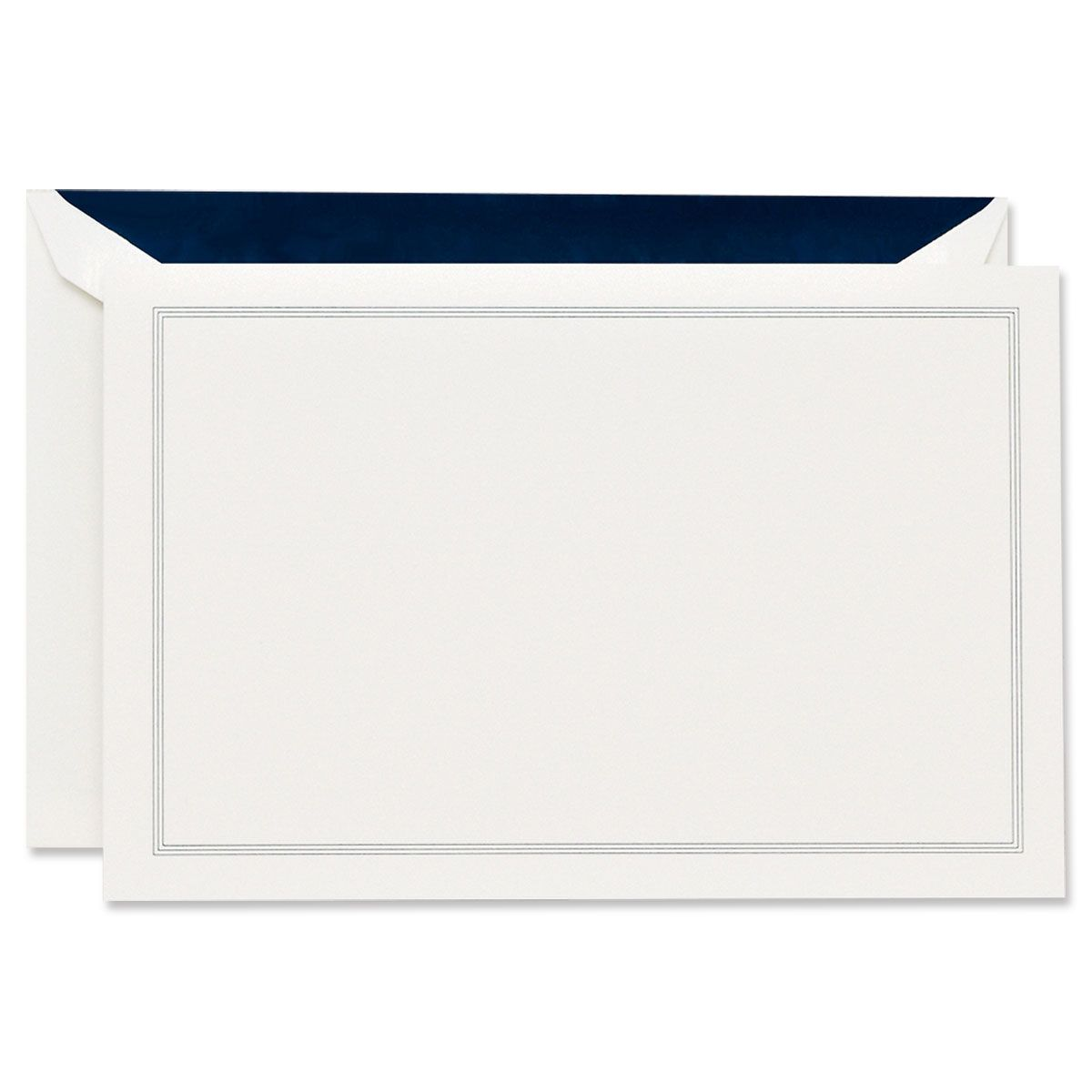 Navy Blue Triple Hairline Frame White Correspondence Cards Boxed Set