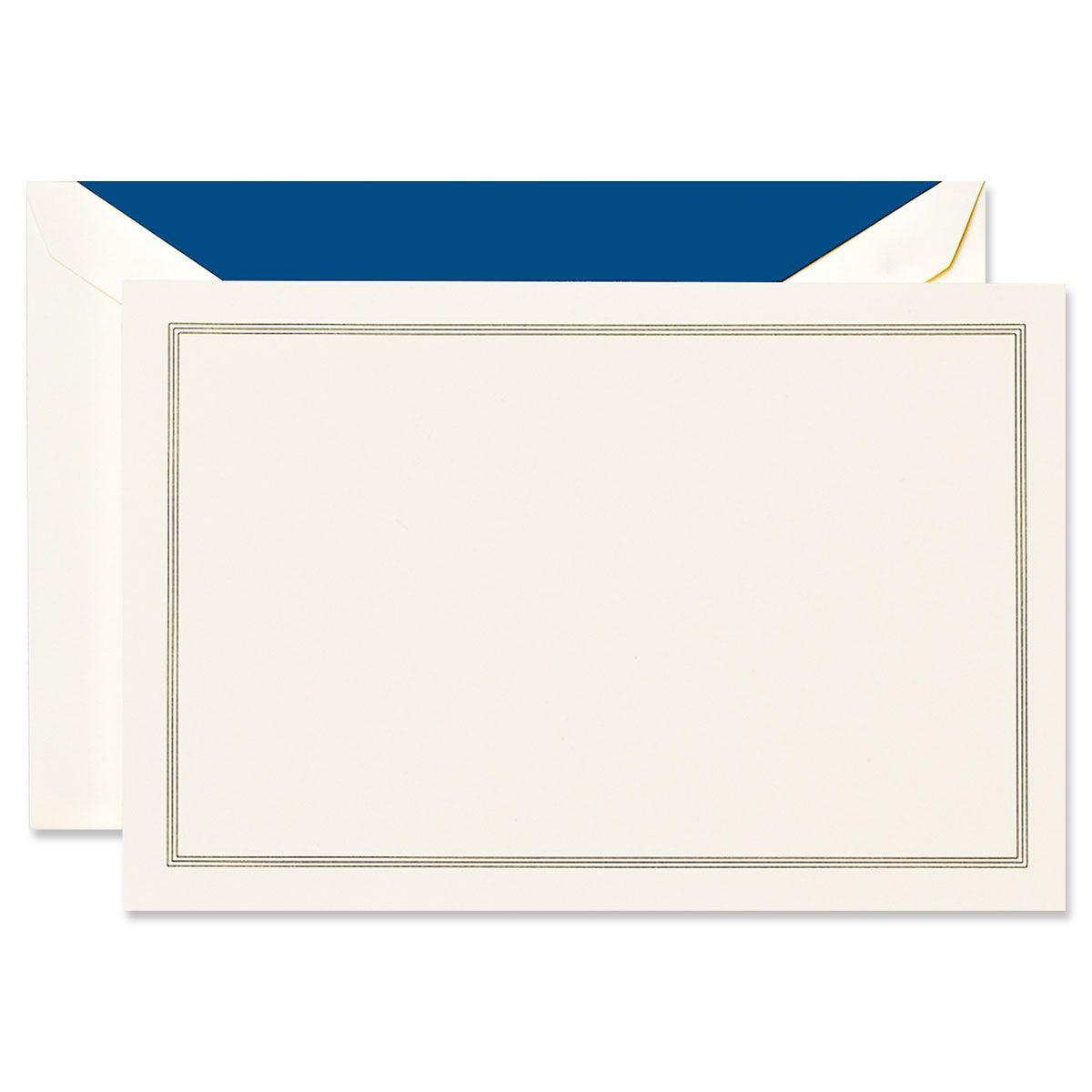 Regent Blue Triple Hairline Frame Ecru Correspondence Cards Boxed Set