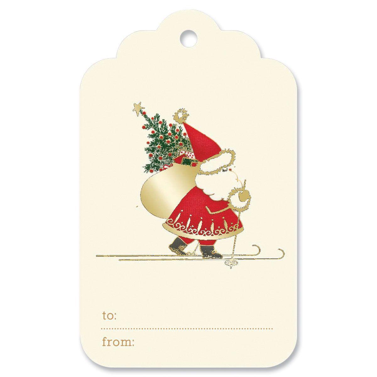 Skiing Santa Gift Tag
