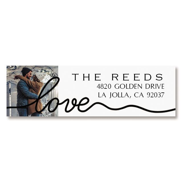 Love Black Caption Photo Custom Address Labels