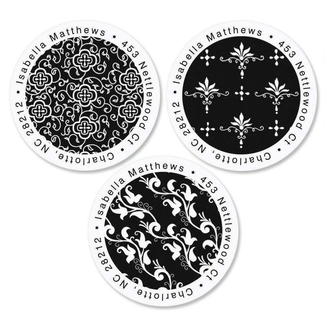 Black Elegance Round Custom Address Labels  (3 Designs)