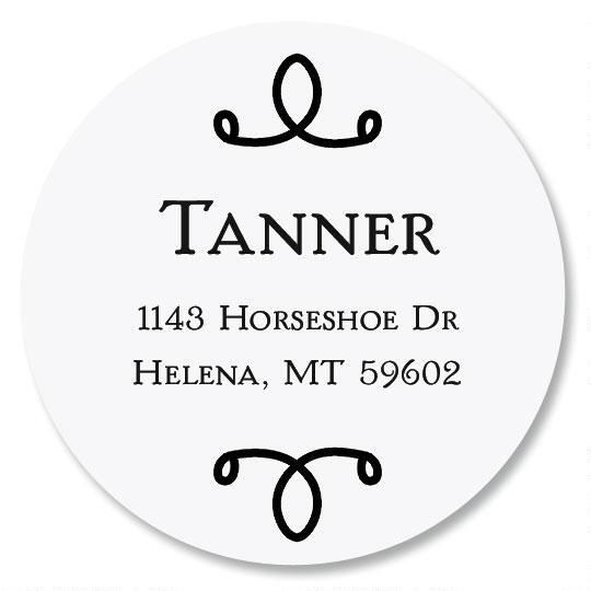 Swirl Name Round Custom Address Labels