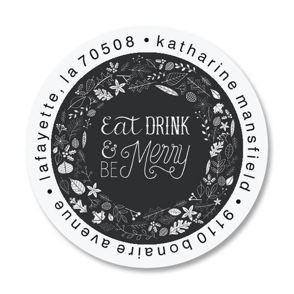 Be Merry Round Custom Address Labels