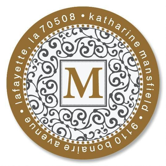 Charming Initial Round Custom Address Labels