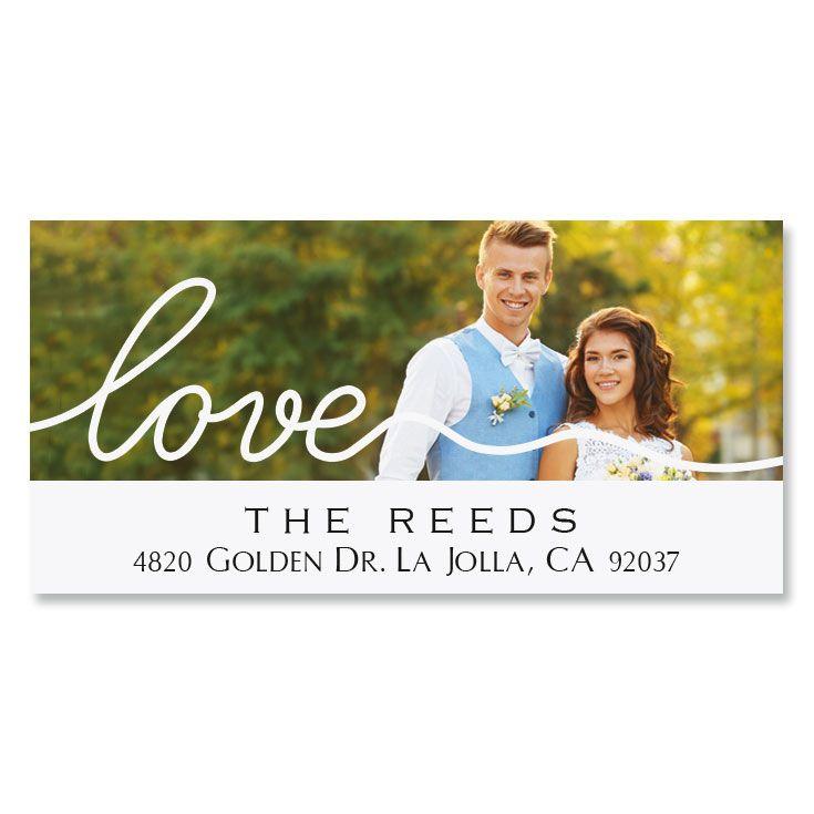 Love White Caption Deluxe Photo Custom Address Labels