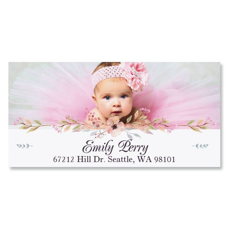 Floral Deluxe Photo Custom Address Labels