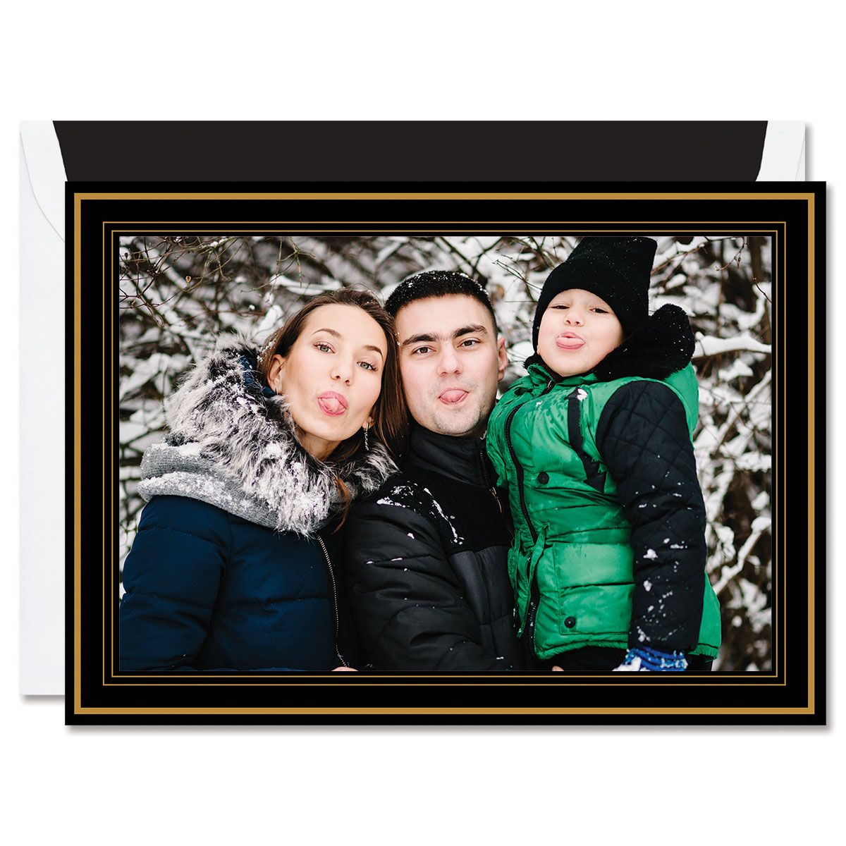 Black and Gold Holidays Mounted Photo Card