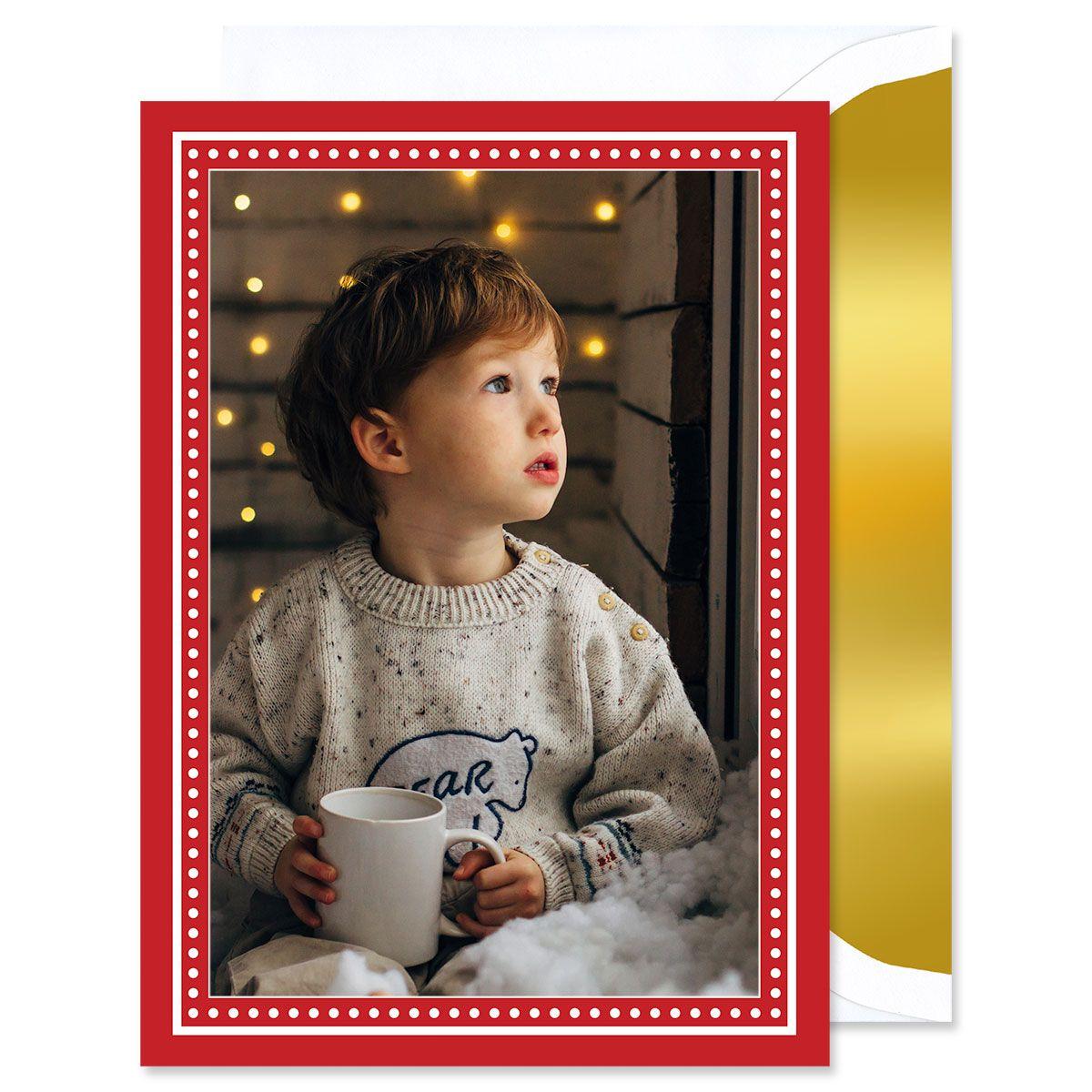 Red Polka Dot Mounted Photo Card